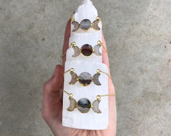 Amethyst + Druzy Moon Phase Necklace