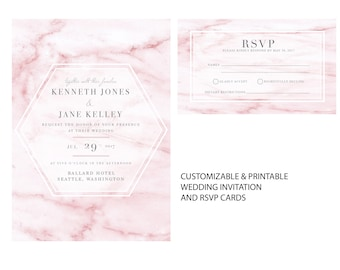 Pink Marble Invitation | Personalized and Printable | Modern Wedding