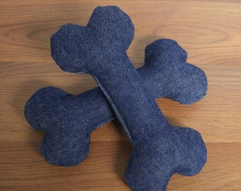 Denim dog toy bone