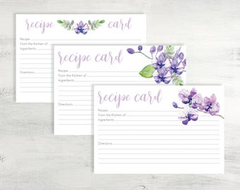 Purple Recipe Card Printable, Recipe Card Printable, 4x6 Recipe Card, Printable Recipe Card, Recipe Card Instant Download, Recipe Card PDF