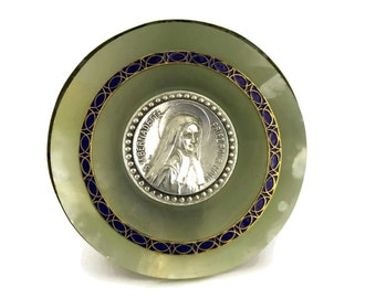 Saint Bernadette Silver Medal. Antique French Religious Plaque with Brass, Blue Enamel And Alabaster. Lourdes Souvenir.