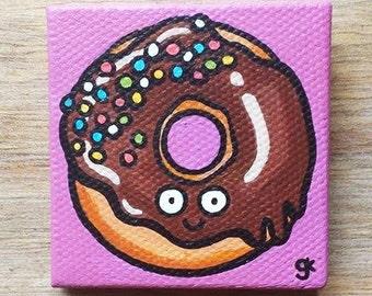 Donut Painting / Cute Cartoon Food Chocolate Glaze with Sprinkles Donut Mini Painting