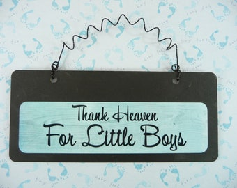 Sign THANK HEAVEN For Little Boys Wood Metal Cute Gender Reveal Its A Boy Baby Shower Gift Nursery Bedroom Gift for Mom To Be