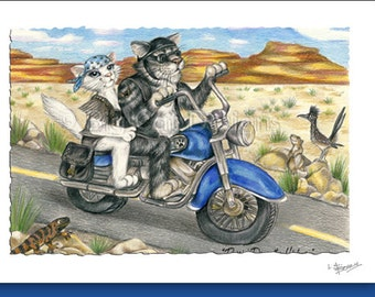 CAT CARD. Purrin Down the Highway. Cats on a Motorcyle. Cat Greeting Card.  5X7 Framable Card.