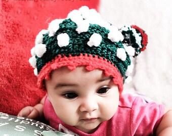 0 to 3m Newborn Elf Hat Pom Pom Beanie - Green Red White Crochet Baby Hat, Bobble Hat Elf Costume, Baby Shower Gift Infant Photo Prop