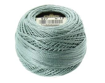DMC 927 Perle Cotton Thread   Size 12   Light Gray Green