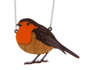 Robin necklace - laser cut acrylic perspex bird ornithology christmas festive winter red breast