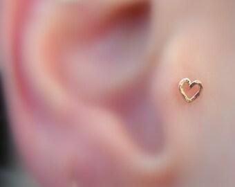 Tragus Earring - Nose Ring Stud - Cartilage Earring - 14K Rose Gold Filled Valentine Heart Tragus Stud - Tragus Piercing
