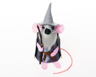 Gandalf the Grey Mouse - collectable Lord of the Rings inspired art rat artists mice felt mouse cute soft sculpture toy stuffed plush LOTR