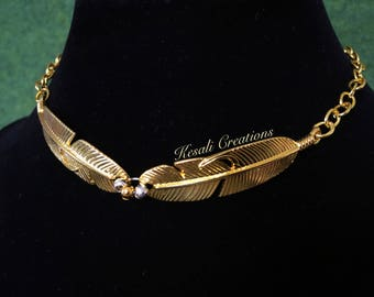 Golden Feather Choker, Gold Feather Choke Chain, Gold Feather Choker Necklace.
