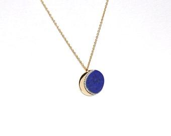 14k Pave Diamond Lapis Lazuli Crescent Moon Pendant/Necklace