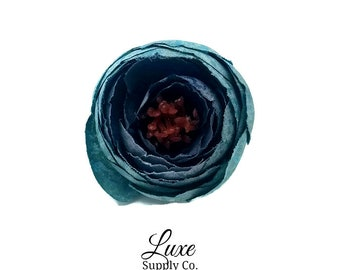 French/Nile Blue Silk Ranunculus Flowers - 1.25 inch - Artificial Flowers for Baby Headbands