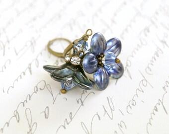 Chameleon Azure Lucite Flower Earrings, Enameled Lucite - LIMITED EDITION