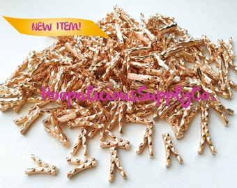 """25 RARE Vintage """"Y"""" Beads In Gold with Triangular Pattern- Ships From USA w/ Tracking Number Incl. for Domestic Buyers."""