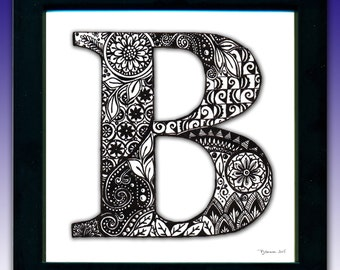 Framed 'B' Monogram Print