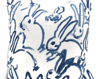 Lee Jofa Groundworks Hutch Pillow Cover, Blue Bunny Pillow Cover Made to Order, Hunt Slonem Navy and white pillow, throw pillow, toss pillow