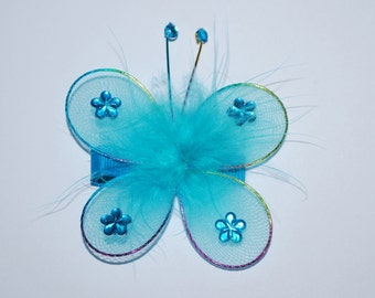 Turquoise Butterfly Sparkle No Slip Hair Clip - Buy 3 Items, Get 1 Free
