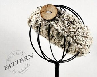 CROCHET PATTERN - Crochet Cable Headband Pattern, Crochet Cable Pattern, Headband, Earwarmer, Button (Toddler, Child, Adult sizes) pdf #017B