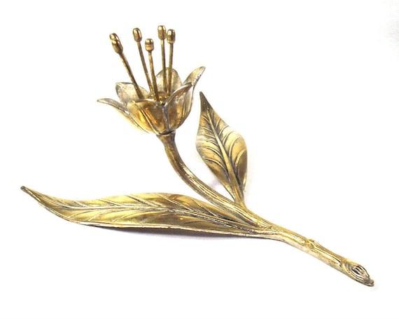 Vintage Brass Flower Ornament