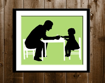 Custom Father Daughter Silhouette Portrait with Props, Father's Day Gift, Silhouette Art Print, Children Silhouette Portrait from your Photo