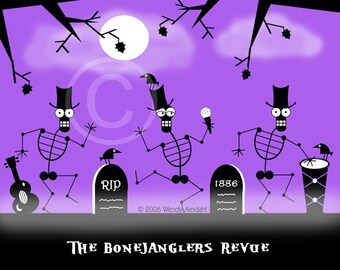 Halloween Art, Halloween, Illustration, Digital, Purple, Black, 8x10, Skeletons, Skeleton Dance, Shadow Art, Graveyard