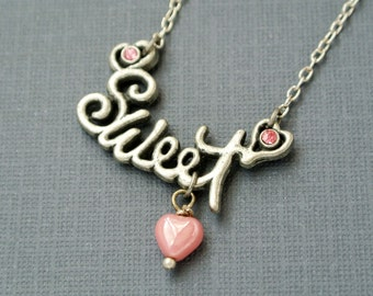 Sweet necklace with pink heart-Sweets anniversary gift for her-Valentines Jewelry for girlfriend-Love Jewelry for wife