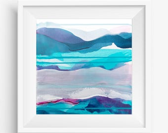Digital Print, Abstract Printable Art, Abstract Landscape Art Print, Square Abstract Print, Turquoise White - Meditation on Clarity 3