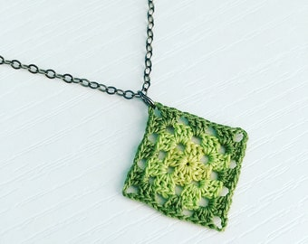 Lincoln Square Crochet Necklace in Olive Green / Grass Green / Spring Green, Granny Square Pendant, Gradient, Gift Under 50, Summer Style