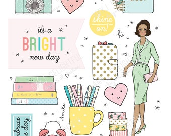 Printable PLANNER GIRL die cuts!-Digital File Instant Download- women of color, pastels, collage, Bando, the Happy Planner, hand drawn