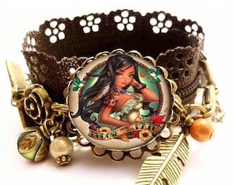 "Princess bracelet ""pocahontas"". Autumn Brown. glass Cabochon. Kids girl and woman gift"