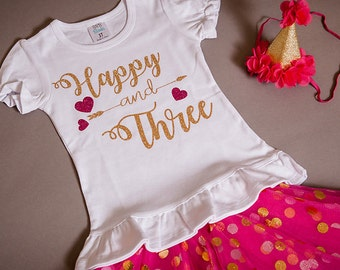 Happy and Three birthday outfit, 3rd birthday shirt, third birthday shirt, three year old tutu birthday outfit.