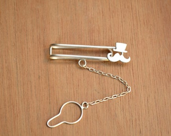 Skinny Mustache with Hat Tie bar- sterling silver
