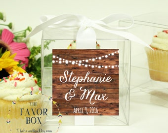 8 - Wedding Favor Cupcake Boxes - String Lights Label Design - ANY COLOR-wedding favors, wedding cupcake box, personalized cupcake box