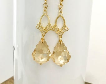Swarovski Golden Shadow Baroque Chandlier Earring