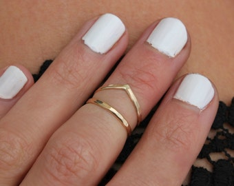 Gold knuckle rings, stacking rings - midi ring, Gold rings, stacking rings