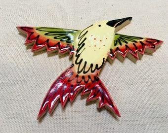 Hummingbird Handmade Ceramic Mosaic Bird Tile Bathroom Tile Kitchen Tile Floor Tile Garden Tile