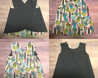 Cactus Arrows Reversible Crossover Pinafore Dress - Baby Girl - Green Pink Yellow Blue - Gray