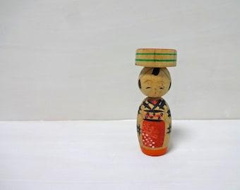 2.9inch Vintage Japanese Miniature Wood KOKESHI Doll