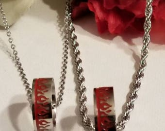 Biker Style Wedding, Jewelry, Necklace and Ring Pendant Matching Set,, Solid Stainless Chains and Rings, Red Flame Rings, Wedding