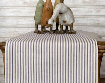 Table runner,blue and white, cotton ticking stripe, farmhouse, several sizes available