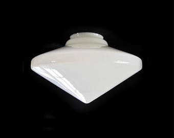 MCM Atomic Conical Ceiling Shade / Glass Pendant Conical Shade / Very Large White Glass Mid Century Modern Lighting