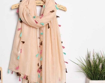 Seasonal Sales For ALL SCARVES *** Bare pink fringed scarves, Large Shawl Stole Scarf, spring scarf, summer scarf, autumn scarf, women scarf
