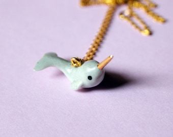 tiny narwhal necklace // miniature narwhal pendant // porcelain animal charm // sea life jewelry // narwhale pendant // ceramic pendant