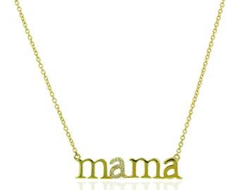 14K Yellow Gold Diamond MAMA Necklace - E14YN1103