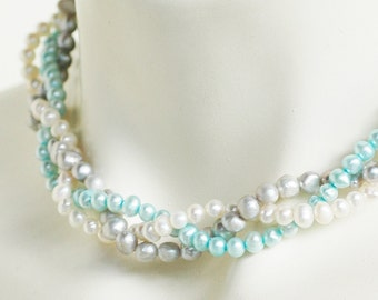 Shelly - Perfect Bridesmaid Necklace-Turquoise Silver & Ivory/White Necklace w/Ribbon Tie WEDDING JEWELRY Maid of HONOR
