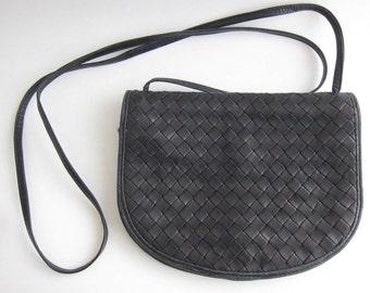 Bottega Veneta vintage black braided leather shoulder bag-portfolio.