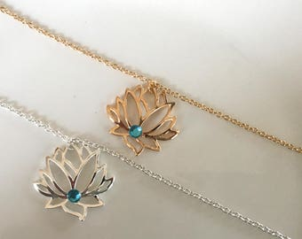 Silver Lotus Flower Necklace, Gold Lotus Flower Necklace, Silver Lotus Flower Jewelry,Gold Lotus Flower Jewelry, Silver Lotus Flower Pendant