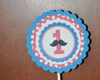 Mustache Smash Cake Topper. Smash Cake. Centerpiece. Mustache. Little Man. Age. Red. Blue