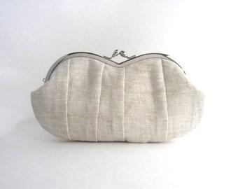 Frame sunglasses case/ Clutch Purse- Pleated natural linen clutch