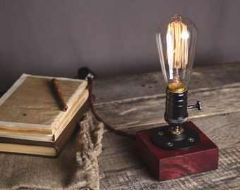 Wooden Edison Table Lamp  Desk Lamp Bed Light .Night Light  Lamp  Industrial  Edison Bulb